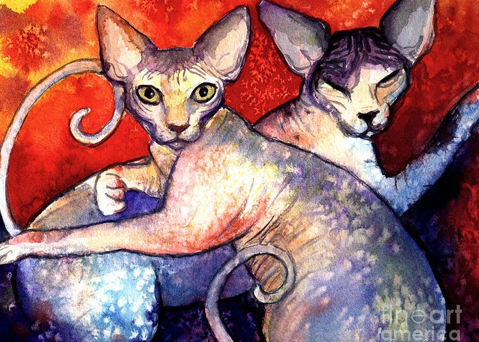 Sphynx Cat Picture Greeting Card featuring the painting Sphynx Cats Sphinx Family Painting by Svetlana Novikova