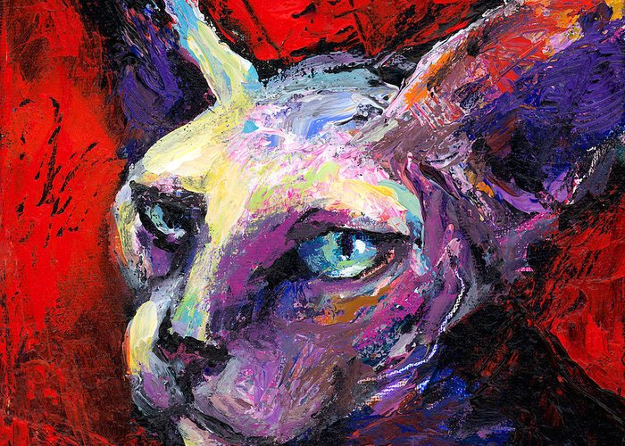 Sphinx Cat Portrait Greeting Card featuring the painting Sphynx Sphinx Cat Painting by Svetlana Novikova