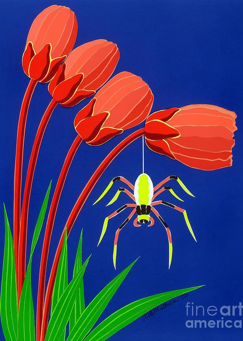 Nature Greeting Card featuring the drawing Spider by Lucyna A M Green
