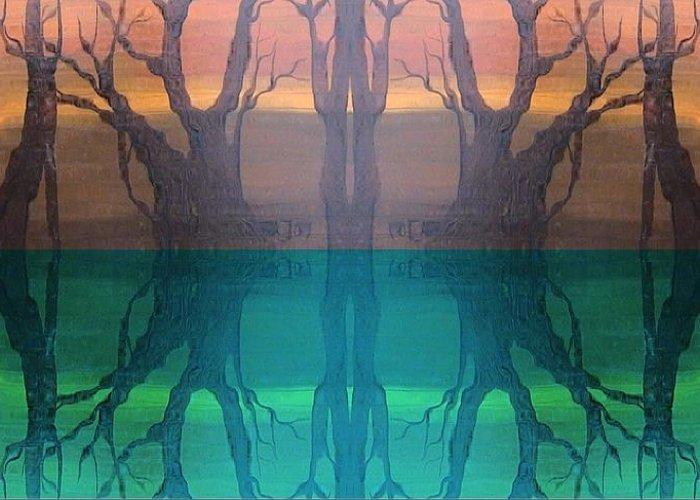 Evening Greeting Card featuring the digital art Spiegelungen by Amrei Al-Tobaishi-Jarosch