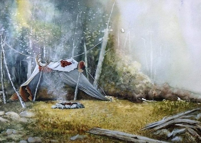 Tent Greeting Card featuring the painting Spike Camp by Lynne Parker