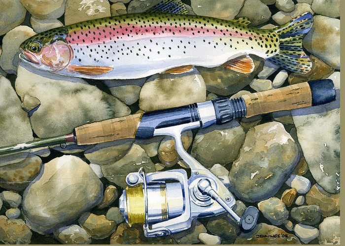 Fish Greeting Card featuring the painting Spin Trout by Mark Jennings
