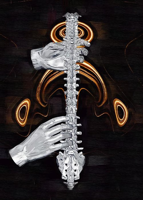 Spine Greeting Card featuring the digital art Spine - Instrument Of Life by Joseph Ventura