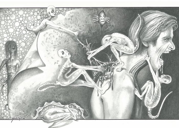 Aliens Greeting Card featuring the drawing Spine Hunters by Julian B