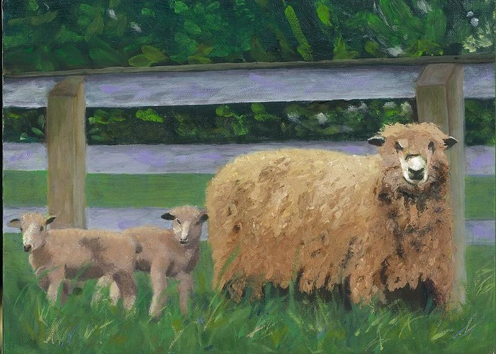 Sheep Lambs Countryside Farm Spring Greeting Card featuring the painting Sping Lambs by Paula Emery