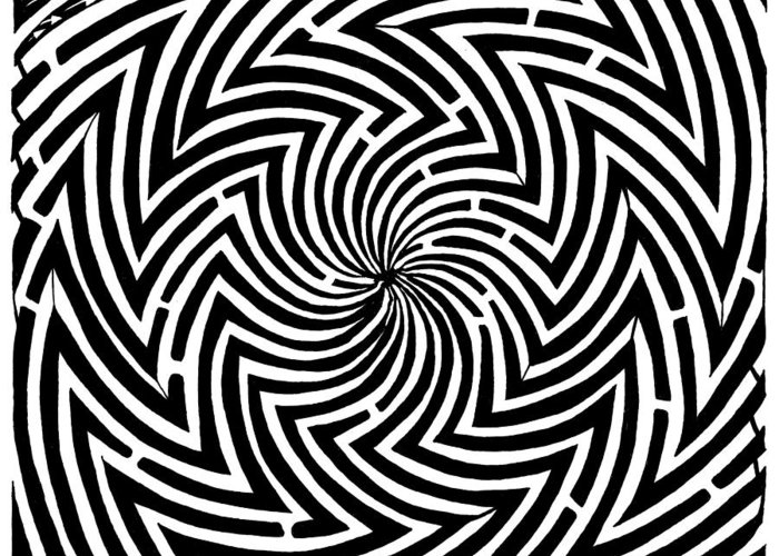 Spinning Greeting Card featuring the drawing Spinning Optical Illusion Maze by Yonatan Frimer Maze Artist