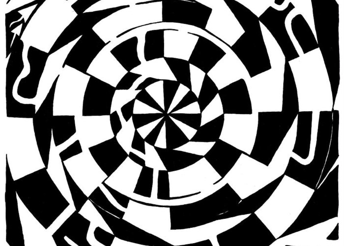 Spinning Greeting Card featuring the drawing Spinning Tunnel Maze by Yonatan Frimer Maze Artist