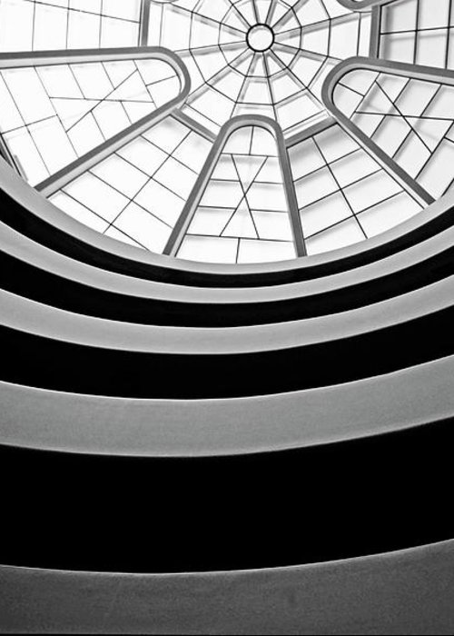 America Greeting Card featuring the photograph Spiral Staircase And Ceiling Inside The Guggenheim by Sami Sarkis