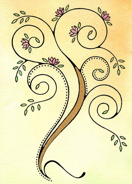 Tree Greeting Card featuring the painting Spiral Tree by Nora Blansett