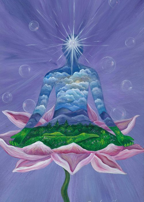 Meditation Greeting Card featuring the painting Spirit And Nature by Sundara Fawn