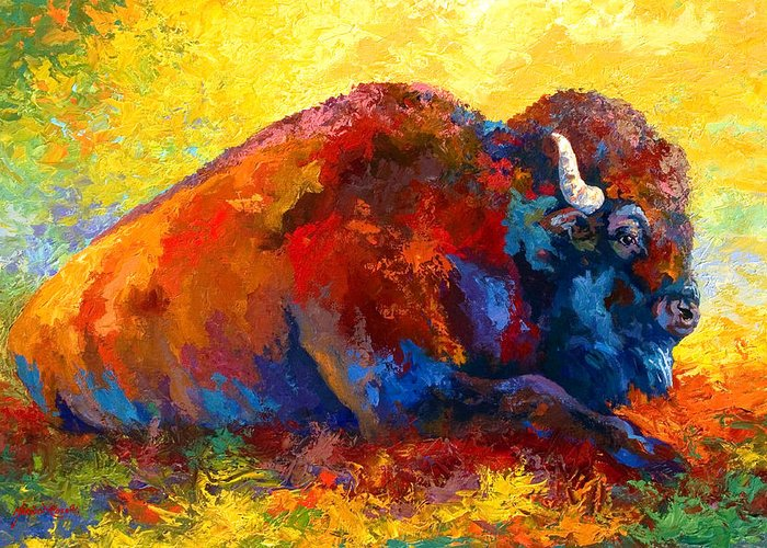 Wildlife Greeting Card featuring the painting Spirit Brother - Bison by Marion Rose
