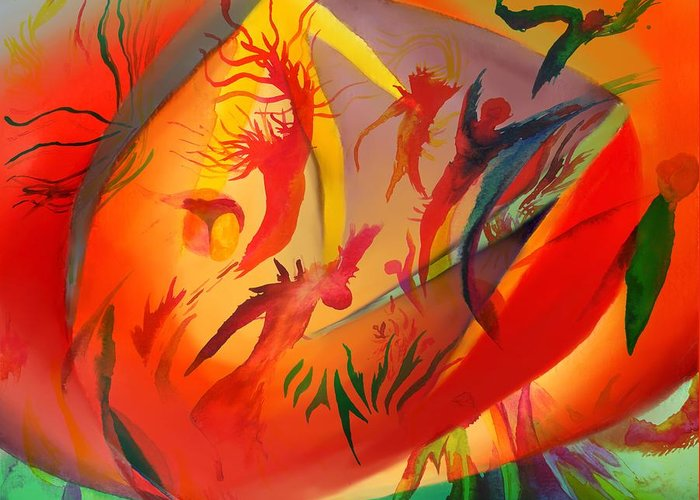 Abstract Greeting Card featuring the painting Spirit Dance in the Cave by Peter Shor