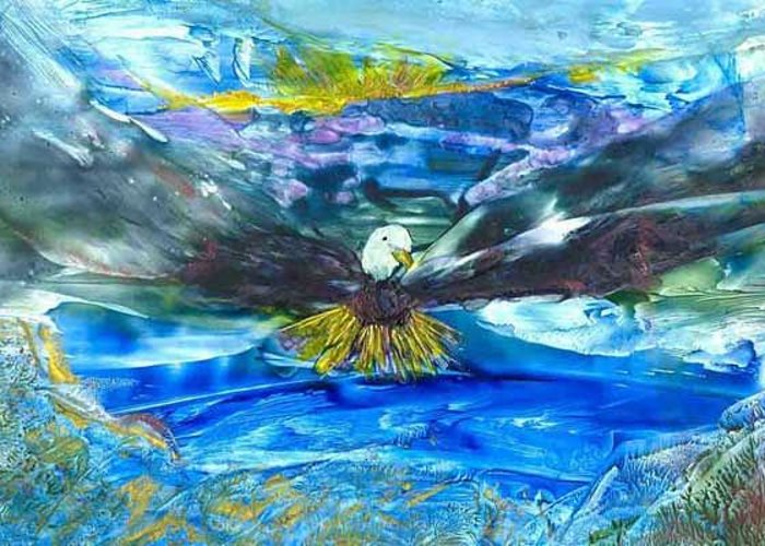 Greeting Card featuring the painting Spirit Eagle by Heather Hennick