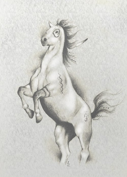 Native American Art Greeting Card featuring the mixed media Spirit Horse by Robert Martinez