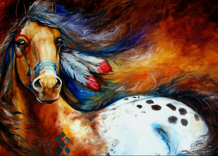 Horse Greeting Card featuring the painting Spirit Indian Warrior Pony by Marcia Baldwin