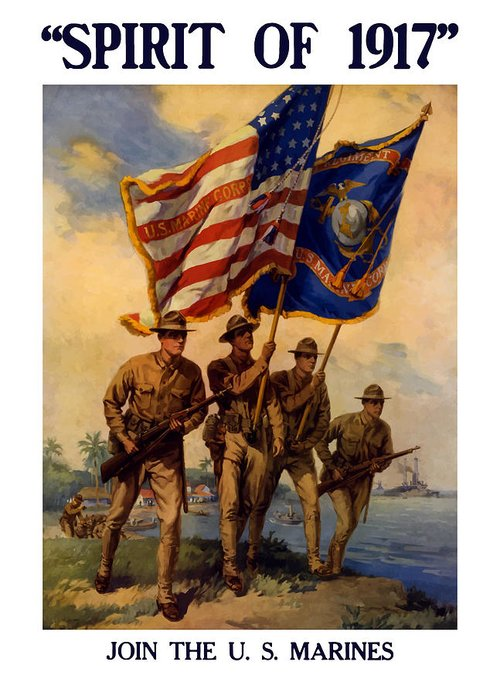 Marines Greeting Card featuring the painting Spirit Of 1917 - Join The Us Marines by War Is Hell Store
