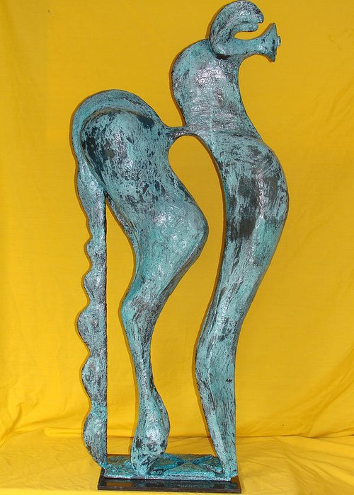 Spirit Greeting Card featuring the sculpture Spirit Of A Young Horse by Al Goldfarb