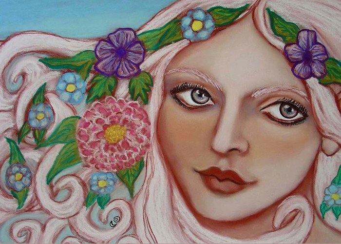 Faerie Greeting Card featuring the painting Spirit Of The East Wind by Tammy Mae Moon