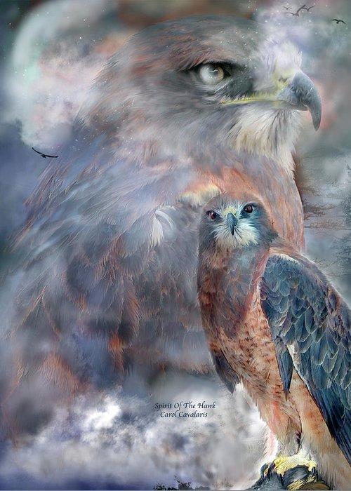 Hawk Greeting Card featuring the mixed media Spirit Of The Hawk by Carol Cavalaris