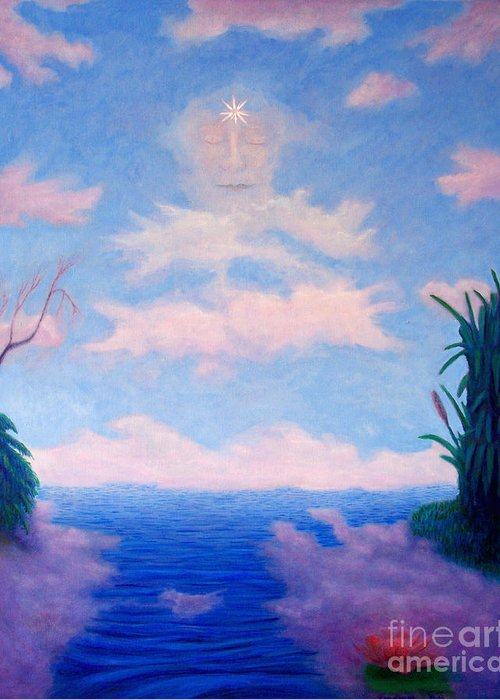 Buddha Greeting Card featuring the painting Spirit Of The Lake by Brian Commerford