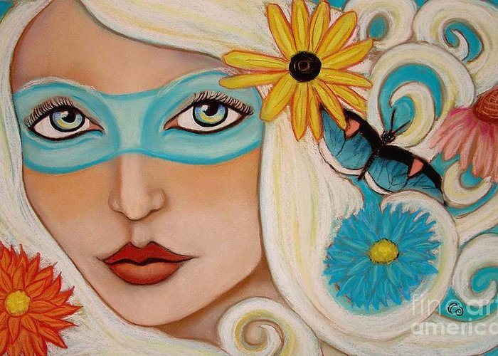 Fairy Greeting Card featuring the painting Spirit Of The South Wind by Tammy Mae Moon