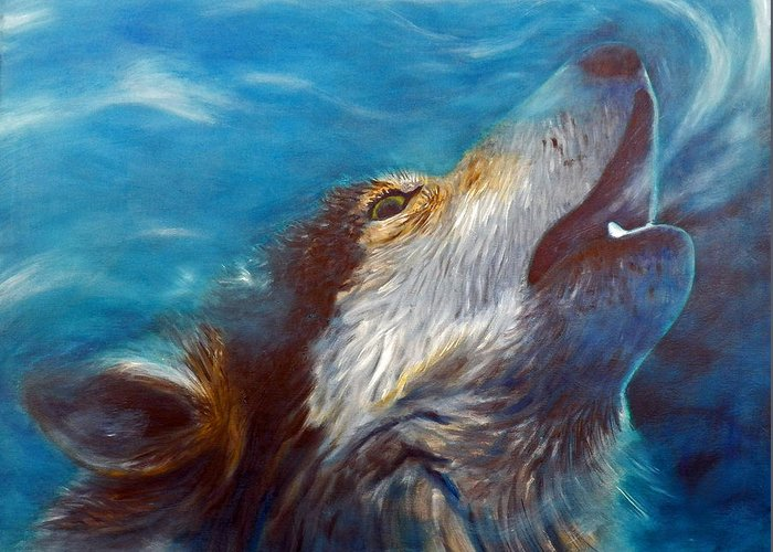 Wolf Greeting Card featuring the painting Spirit Of The Wolf by Brian Commerford