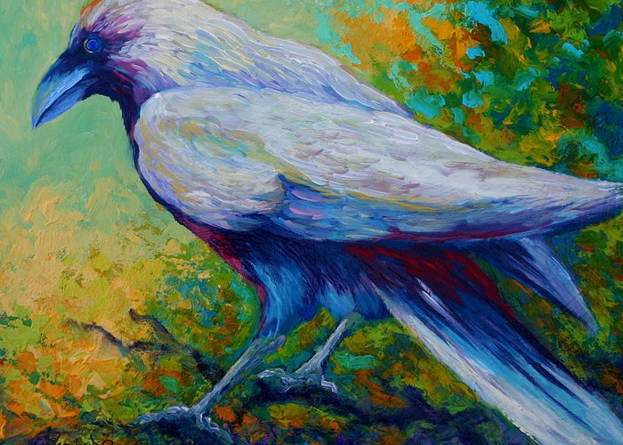 Crows Greeting Card featuring the painting Spirit Raven by Marion Rose