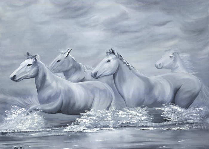 Horses Greeting Card featuring the painting Spirit by SheRok Williams