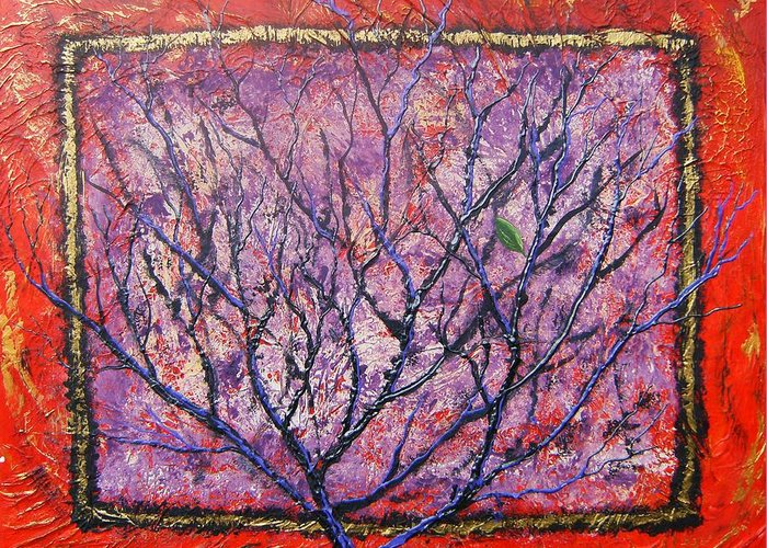 Nature Greeting Card featuring the painting Spirit Tree 6 by Tami Booher