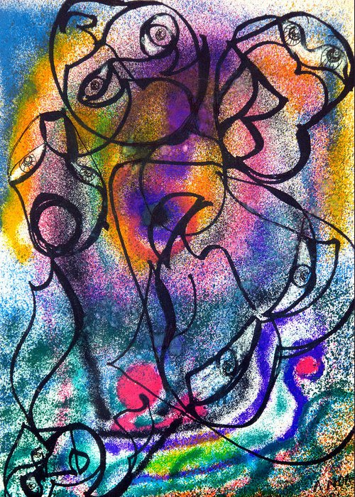 Abstract Greeting Card featuring the painting Spirits Of The Nature by Aymeric NOA