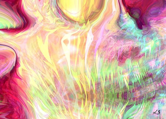 Abstract Art Greeting Card featuring the digital art Spirits Of The Sun by Linda Sannuti