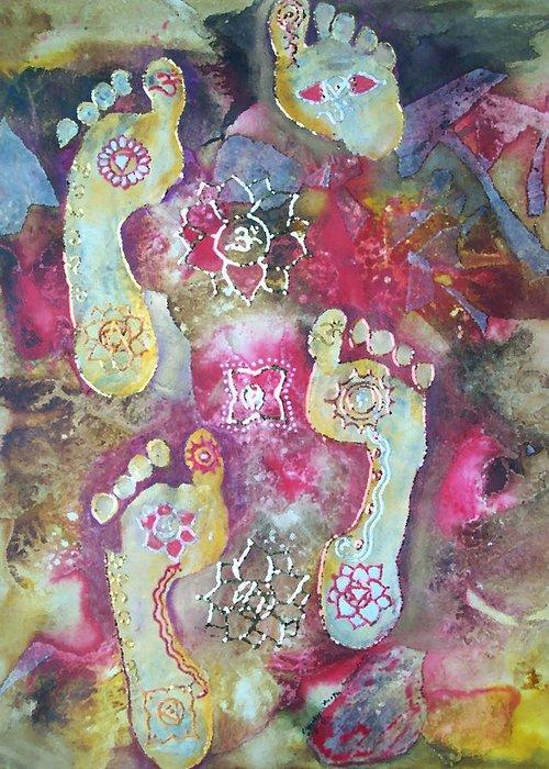 Footprints Greeting Card featuring the painting Spiritual Awakening by Vijay Sharon Govender