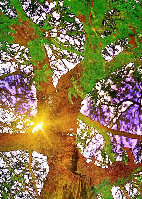 Tree Greeting Card featuring the digital art Spiritual by Tarun Sehdev
