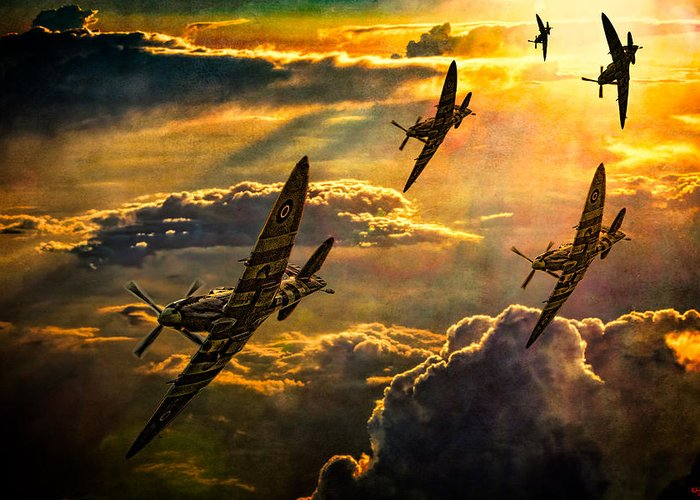 Fighter Greeting Card featuring the photograph Spitfire Attack by Chris Lord