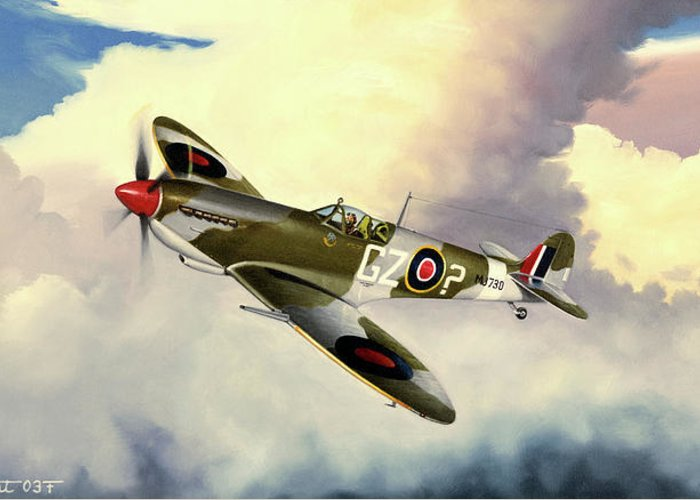Military Greeting Card featuring the painting Spitfire by Marc Stewart