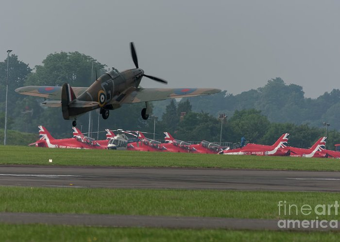 Red Greeting Card featuring the photograph Spitfire Takeoff by Philip Pound