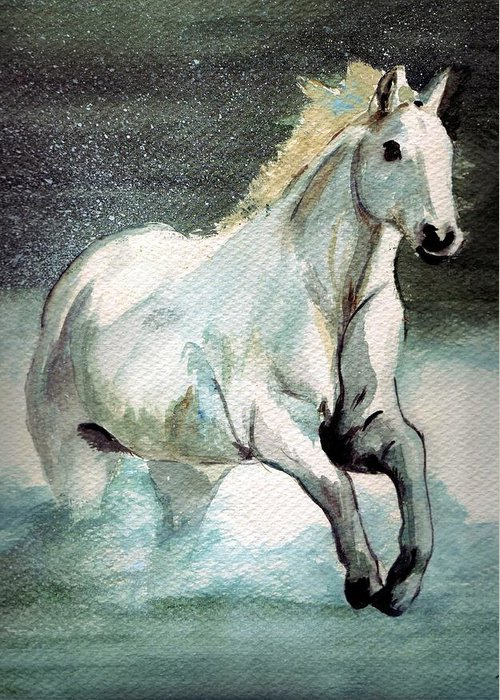White Horse Water Running Horse Greeting Card featuring the painting Splash by Debra Sandstrom