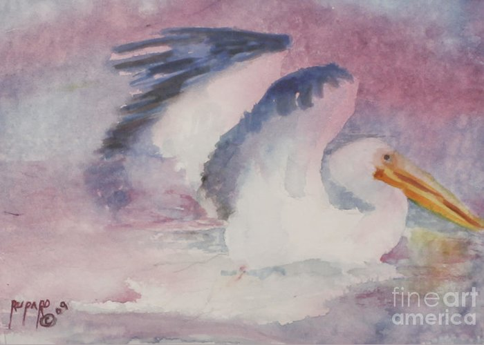 Sea- Sea Birds-. Water- Greeting Card featuring the painting Splash Down by Linda Rupard