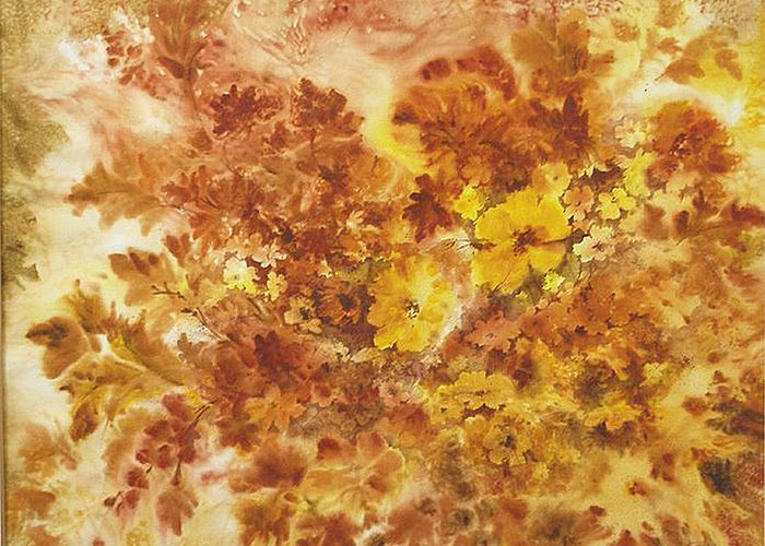 Floral;contemporary;autumn Colors;flowers; Greeting Card featuring the painting Splash Of Autumn Color by Lois Mountz