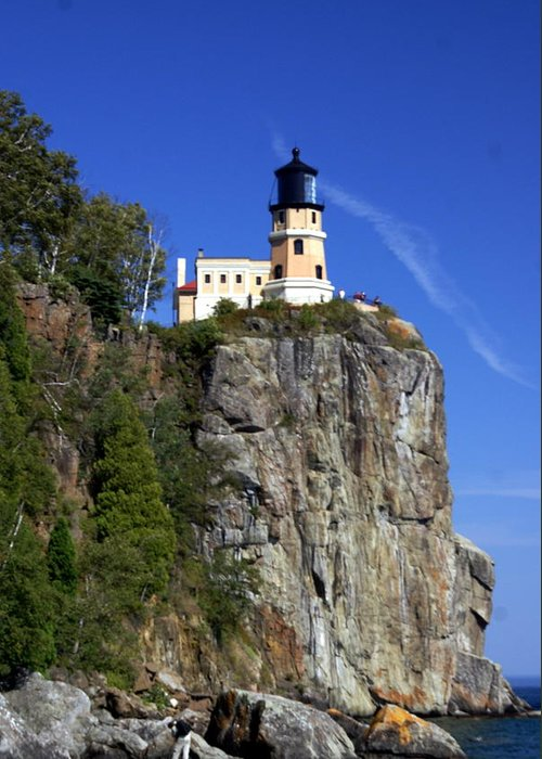 Lighthouse Greeting Card featuring the photograph Split Rock 2 by Marty Koch