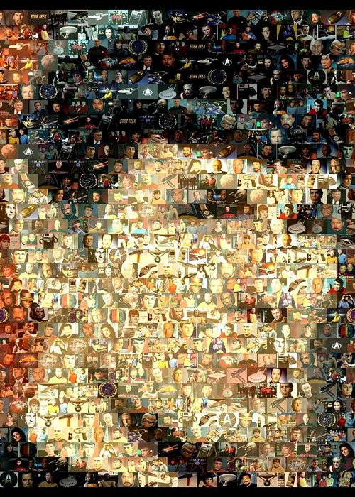 Spock Greeting Card featuring the digital art Spock Star Trek Mosaic by Paul Van Scott