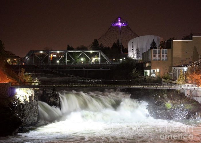 Spokane Greeting Card featuring the photograph Spokane Falls Night Scene by Carol Groenen
