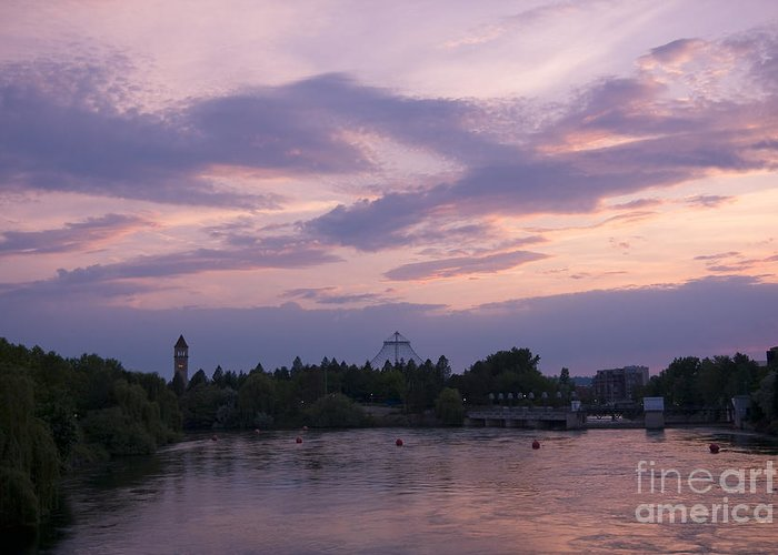 Spokane Greeting Card featuring the photograph Spokane Twilight by Idaho Scenic Images Linda Lantzy