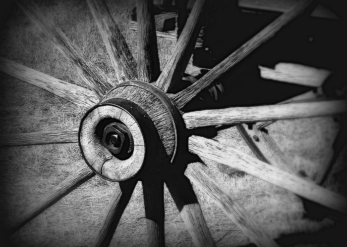 Wagon Greeting Card featuring the photograph Spoked Wheel by Perry Webster
