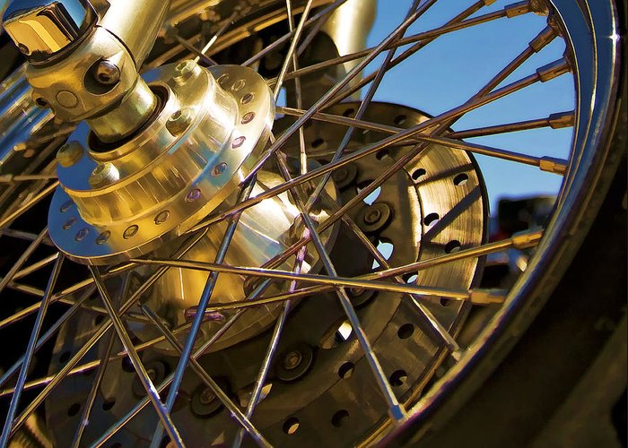 Motorcycle Greeting Card featuring the photograph Spokes by Ricky Barnard