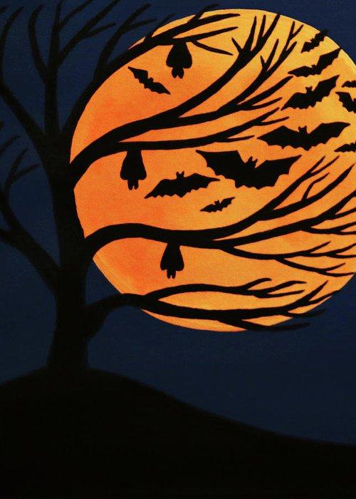 Spooky Bat Tree Greeting Card