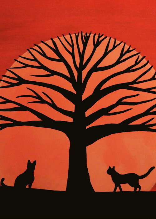 Spooky Cat Tree Greeting Card