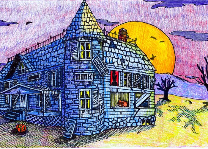 House Greeting Card featuring the drawing Spooky House by Jame Hayes