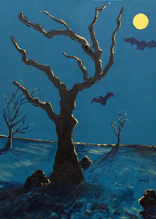 Spooky Greeting Card featuring the painting Spooky by Sean Koziel