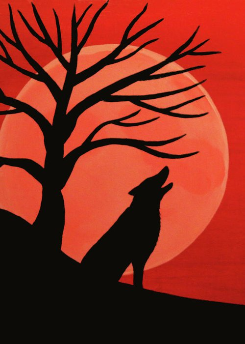 Spooky Wolf Tree Greeting Card